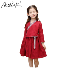 ActhInK 2019 New Summer Ethnic Style Girls Long Sleeve Chinese Dress Red Hanfu Clothes Linen
