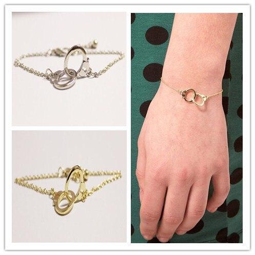 Fashion Style Unique Bracelets Bangles Golden Color Jewelry Cute Chain Handcuff Bracelet For Women Cuff Bangle Pulseras M200 In Link