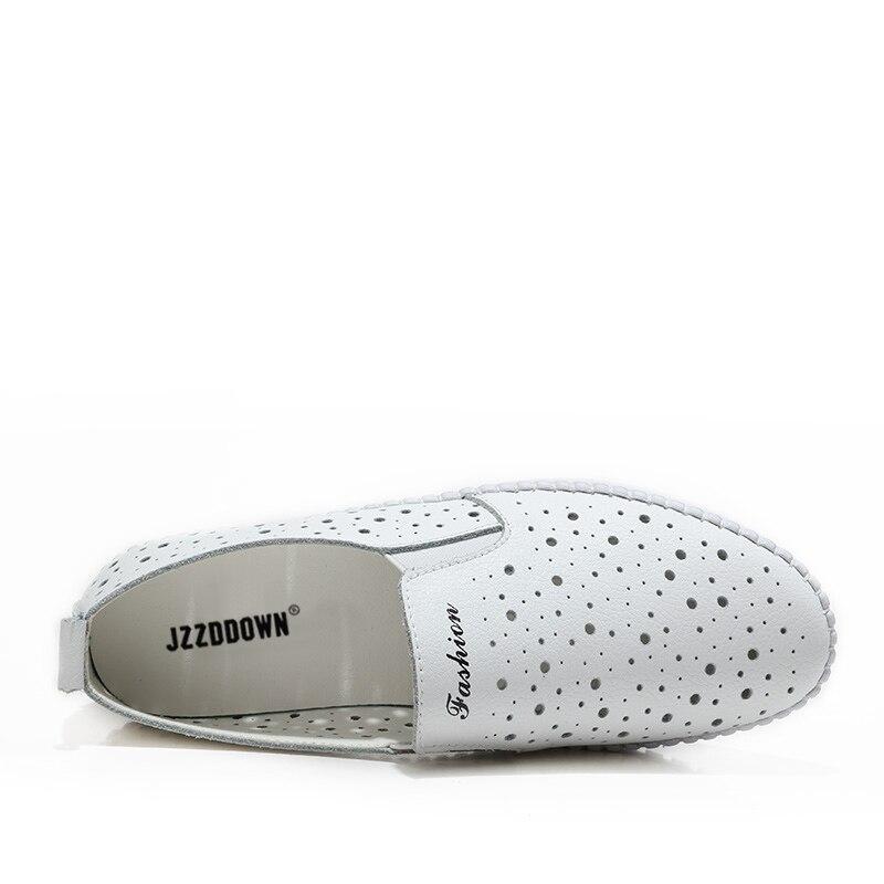 Image 5 - Kobiety trampki buty z prawdziwej skóry Hollow Handmade panie mieszkania płótnie łódź buty kobiece buty wsuwane obuwie ślubneDamskie buty typu flatsButy -