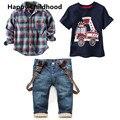 2016 Весенняя Мода Мальчиков Одежда 3 шт. детские комплектов одежды мальчик С Длинным рукавом плед рубашки + автомобиль печати футболка + джинсы