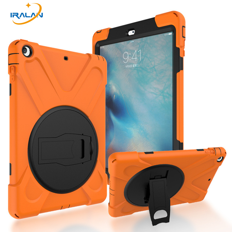 2017 New Kids 360 Rotatable Safe Case for Apple Ipad Air 1 9.7Heavy Duty Shockproof back Cover for Ipad 5+Screen film+Stylus pen