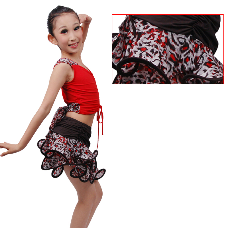 Free Shipping New Special Girl Kid Latin Dance Dress Children's Latin Dance Performance Suits Leopard  Sexy Skirts