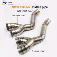 For BMW S1000RR 2010 2012 2013 2014 Year Slip On Exhaust Link Mid Pipe Titanium Alloy Tube For BMW S1000RR 2010 2014 Y style pip