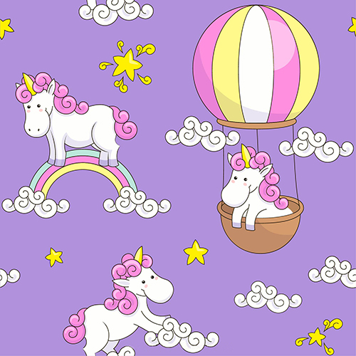 White Cloud Rainbow Star Unicorn Hot Air Balloon Purple Photography Backgrounds Vinyl cloth Computer printed wall backdrops