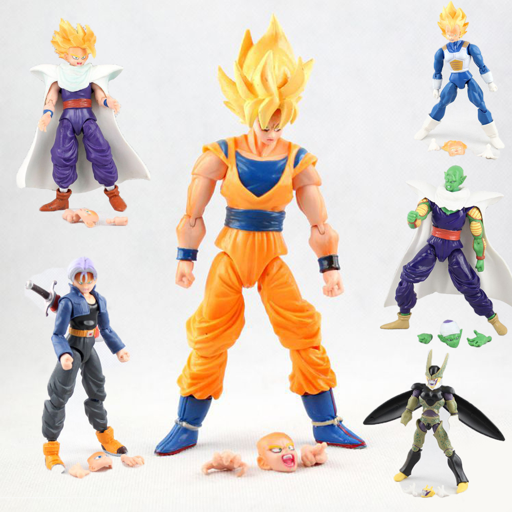 6Pcs Dragonball Z Dragon ball DBZ Goku Piccolo Action Figure Toy Set Anime
