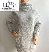 LOVELYDONKEYTurtleneck50CM genuine mink cashmere sweater womenthick pullovers knitted pure mink Heap collar free shippingM699
