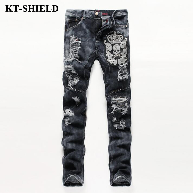 2017 New Fashion Men Jeans Famous Brand Ripped Denim Trousers Design Skull Printed Jeans Pants Cotton Mens Distressed Jeans 2017 fashion patch jeans men slim straight denim jeans ripped trousers new famous brand biker jeans logo mens zipper jeans 604