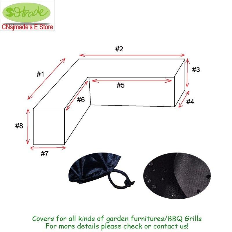 L a forma di Copertura per divano Da Giardino set, formato Personalizzato forma di L, Nero di colore durevole di Oxford tessuto, elastico sul fondo.-in Tende vela e reti da Casa e giardino su  Gruppo 2
