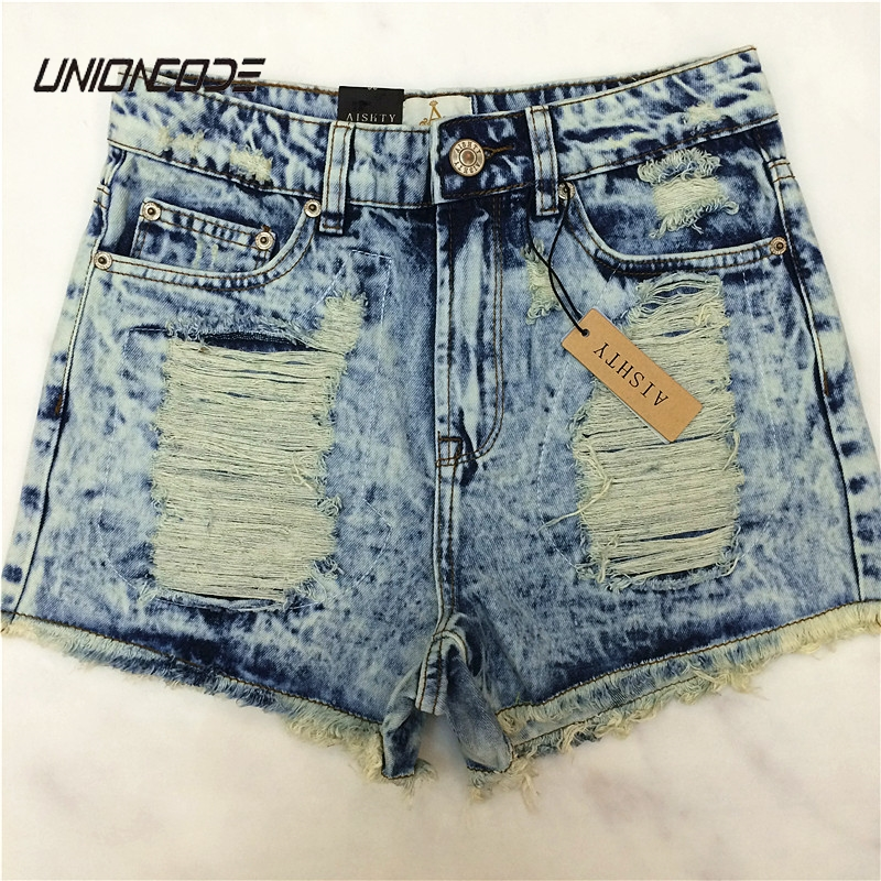 2015 Hot Sale Womens High Waisted Hole Rivet Mini Denim   Short   Jeans   Shorts   For Women Female Feminino Plus Size 32-42 Am011