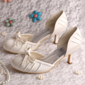 20 COLORS Hot Selling Comfortable White Ivory Satin Wedding Bridal Shoes Low Heeled in Spring Autumn