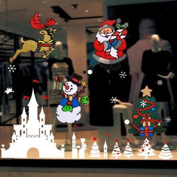 Silikonowe naklejki na szkło okna drzwi wklejone ozdoby świąteczne dekoracje ścienne naklejki świąteczne dekoracje świąteczne