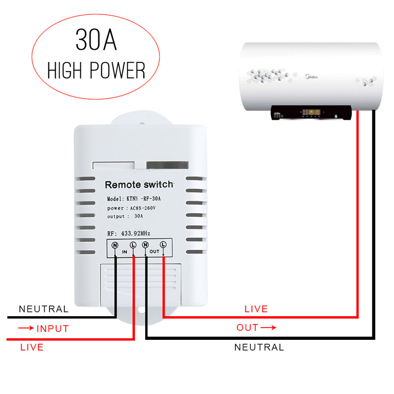 цена на High Power 30A Remote Smart Switch 1 Way AC85-250V DIY Control Module Wireless Water Heater Switch Smart Home Control Gadgets
