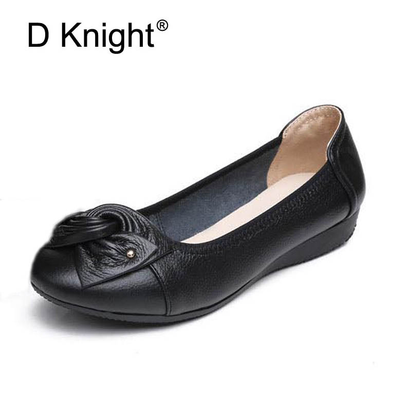 New Women Genuine Leather Flats Fashion Bow Shallow Mouth Slip-on Women Flats Ladies Casual Flat Shoes Size 35-43 Mother Shoes new fashion luxury women flats buckle shallow slip on soft cow genuine leather comfortable ladies brand casual shoes size 35 41