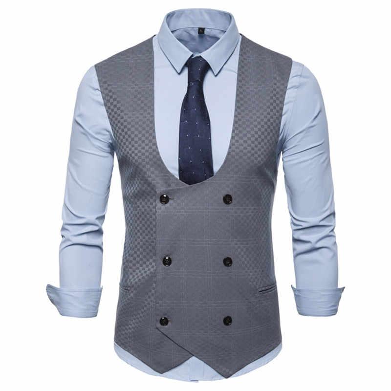 Homens coletes duplo breasted senhores homens xale colarinho soild coletes terno para masculino colete de negócios para hombre