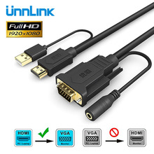 Unnlink HDMI TO VGA Cable adapter to 3.5m Audio Converter 1080P Resolution Male  Power supply For PC Laptop HDTV