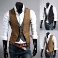 2014 Sale New Cotton Waffle Crew Neck Fashion Ma3 Jia3 Leisure Youth Conventional Brand Jacket Undershirt Piece Male Slim Vest