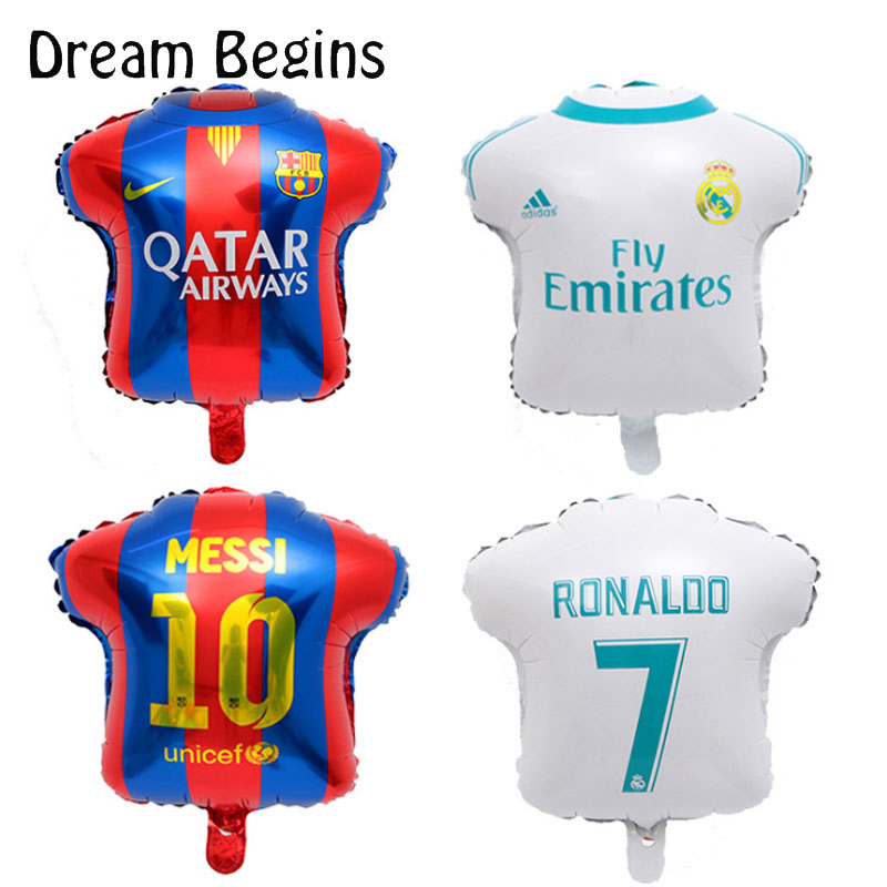 Image 4 - DB 2Pcs 18inch La Liga football league team match Barcelona Real Madrid jersey fans carnival bar celebration decoration balloons-in Ballons & Accessories from Home & Garden