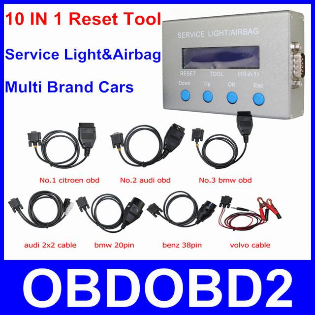 Chegada nova 10 em 1 serviço luz Airbag Reset Tool Oil Universal 10 em 1 Mileage correção Resetter para carros multimarcas