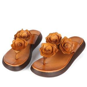Image 2 - GKTINOO ريترو الزهور الوجه يتخبط النساء 2020 الصيف خف جلدي حقيقي النساء أسافين أحذية امرأة