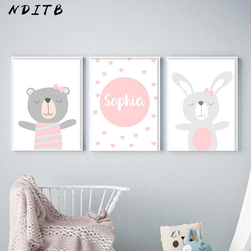 NDITB Cartoon Animal Canvas Painting Nursery Prints Personal Name Custom Poster Wall Picture Nordic Baby Girl Room Decoration