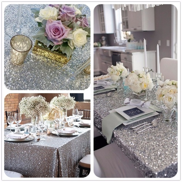 Hot SALE 8Ft Silver Sequin Tablecloth La Travola Wholesale Sequin Table  Cloths For Wedding Sparkly Table