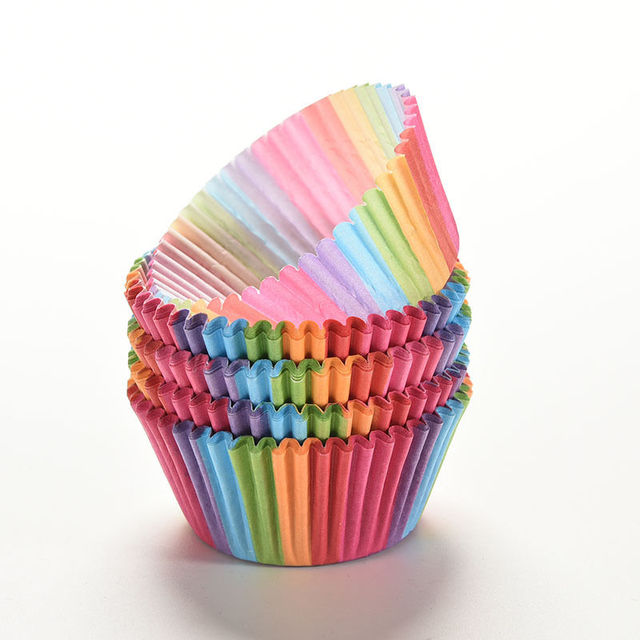100 PCS Rainbow color Paper Cake Cup Liners Baking Cup Muffin Kitchen Cupcake Cases cake mold decorating tools