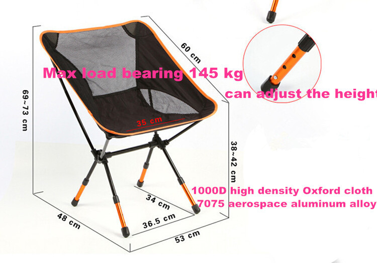 5sets/lot Beach chairs Portable Folding Camping Stool Chair Max load bearing 145 kg silla plegable can adjust the height the silver chair