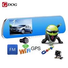 """5.0 """"IPS Táctil Android 4.4 ROM FHD1080P WiFi coche dvrs aparcamiento espejo Retrovisor Del Coche grabadora de vídeo DVR de Doble Lente de La Cámara Dual"""