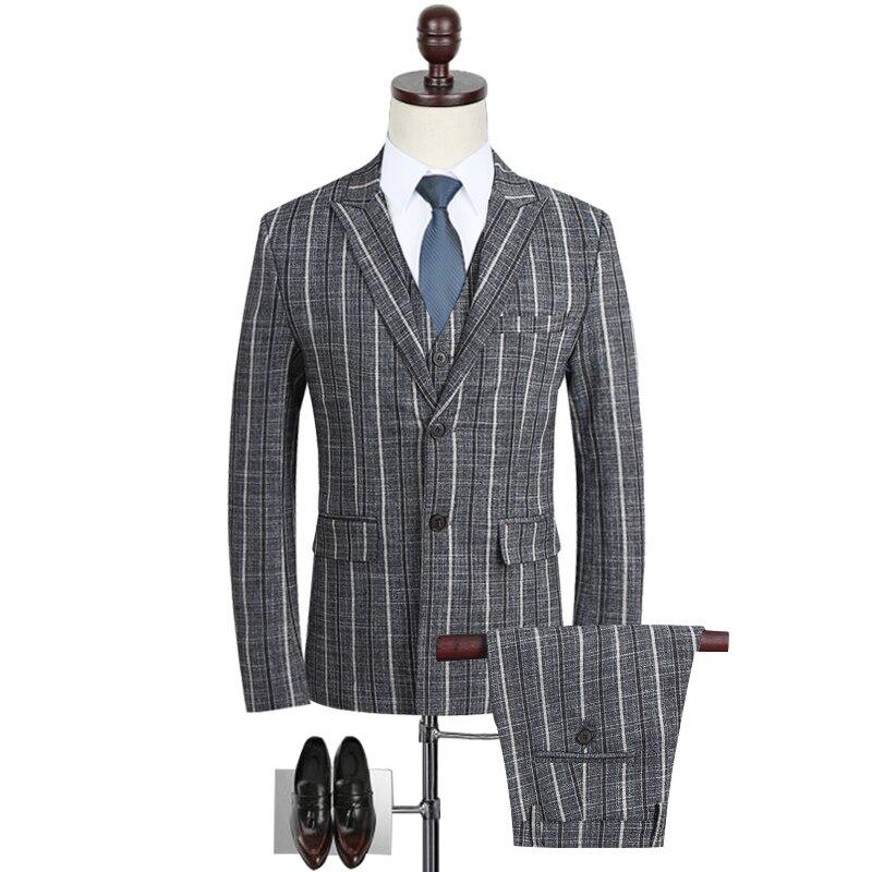 LEFT ROM fashion men's British gentleman Slim striped suit / groom groomsmen dress business casual suit three piece suit