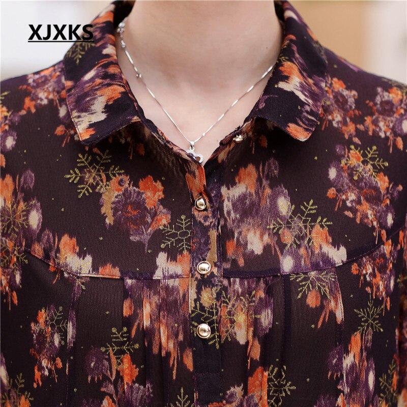 Camisa De Suelta Vuelta Mujeres Multicolor Y La Nuevas Blusa Da Manera Botón Impresión Otoño abajo Primavera 2017 7026 Llegada Xjxks xYg7wavqW