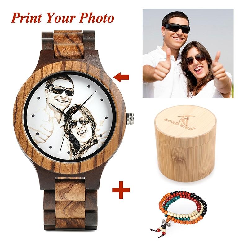 BOBO BIRD Personal Photo Print Customized Wood Watch with Gift Box 14