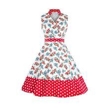 1ef182f81fe6 Floreale Del Vestito Delle Donne 1950 s Vintage Sexy Elegante Bianco UNA  Linea Rosso Dolce di