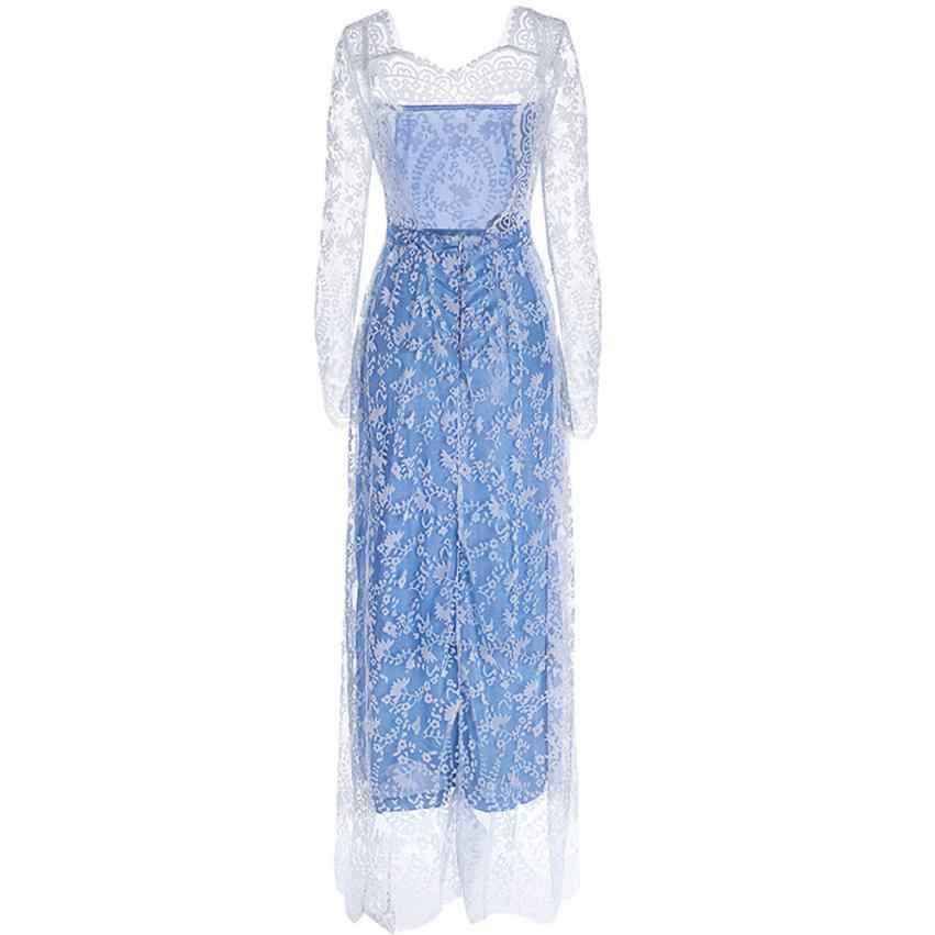 KANCOOLD robe femmes dentelle à manches longues Sexy dos nu robes longue soirée bal robe de bal robe femmes 2018AUG9