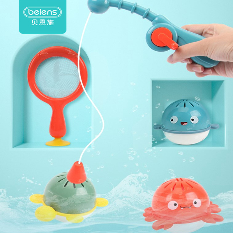 Beiens Child's Bathing Fishing Water Play Toys Beach Fishing Toy High Quality Early Educational Baby Bathroom Bath Fishing Toys