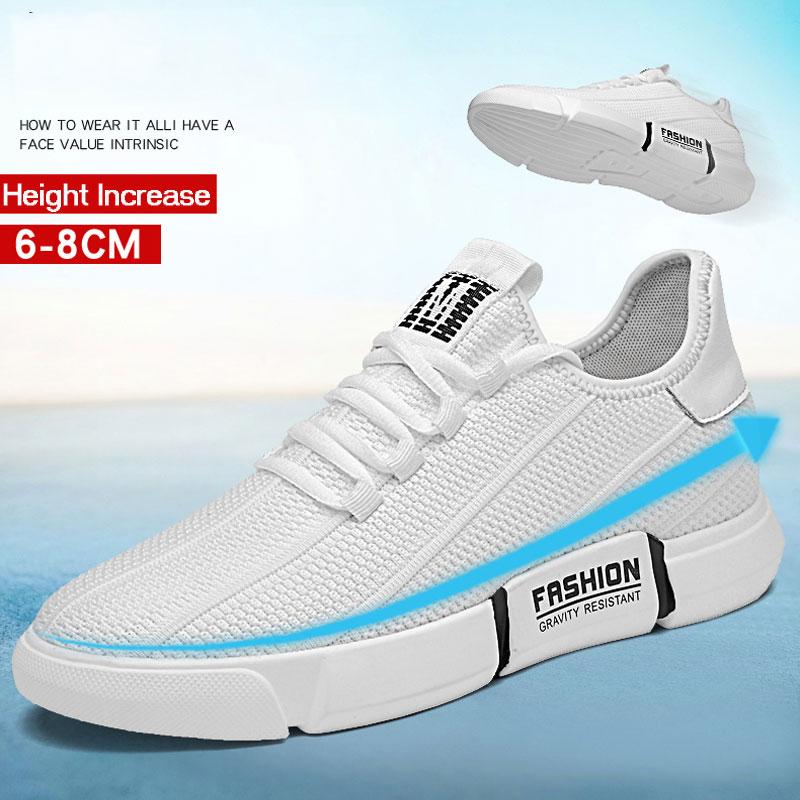 QASDUO Mens Voando Tecido Sapatos Casuais 8 centímetros Aumento da Altura Palmilha Almofada Altura Elevador Sapatos Flats Deslizar Sobre Homens de Calçados