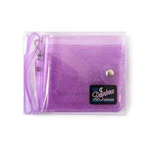 Transparent ID Card Holder PVC Folding Short Wallet Fashion Women Girl Glitter Business Cards Case with Lanyard