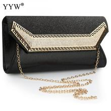 YYW Black Envelope Clutch Bags crystal Rhinestone Sac Main Femme Female Evening party Vintage wedding Shoulder Bag Women