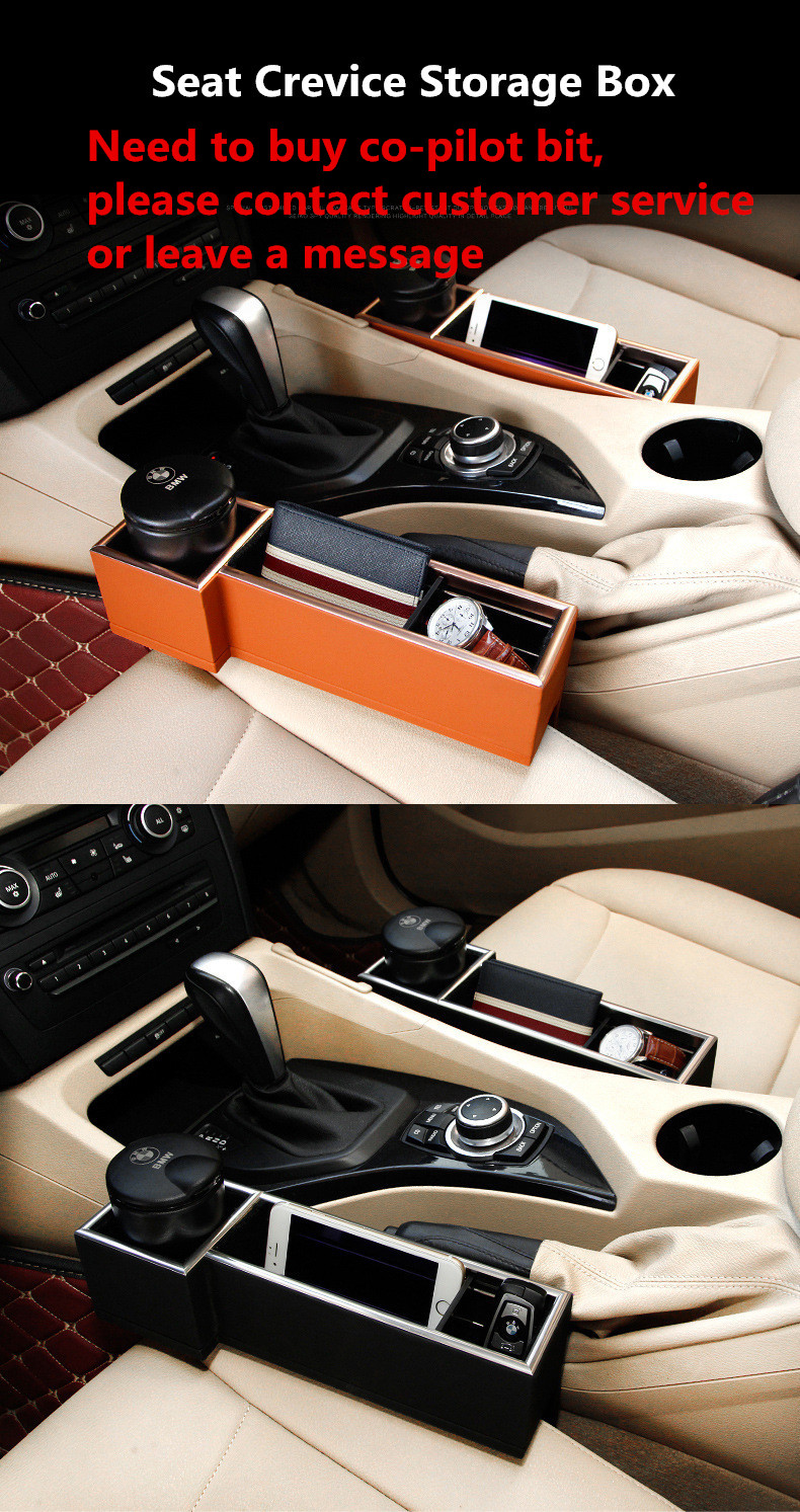 Car Interior Seat Crevice Leather Solid Storage Box