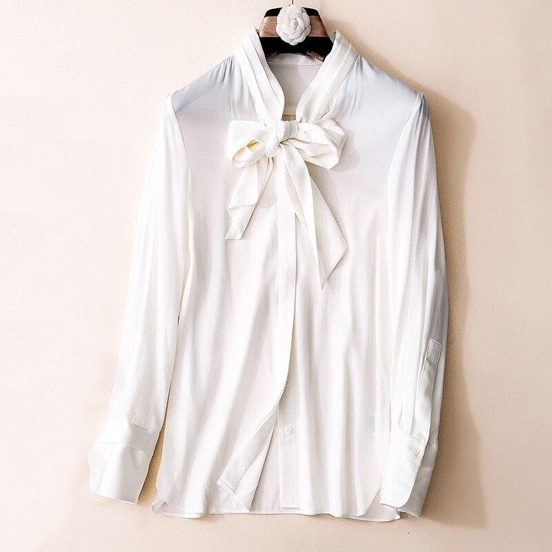 Lady Chemises Femmes De Couleur Printemps Chemisier Avec Bowtie Vert Soie Nouveau Blanc Luxe 2018 Réel En Élégantes Office EDWH2I9