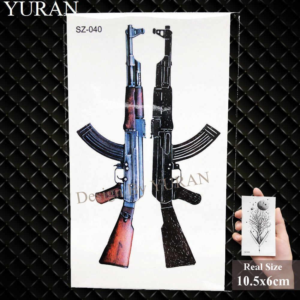 YURAN Nieuwe Black Gun Mannen Fashoin Tattoo Stickers Vrouwen Body Arm Tijdelijke Tattoo AK Rifle Waterdichte Tatoos Sniper Overdraagbaar