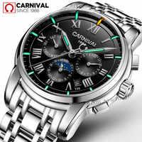 Marque de luxe Tritium T25 lumineux militaire montre hommes phase de lune auto mécanique montres plein acier étanche horloge uhren montre