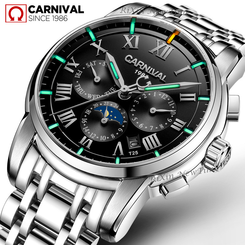 luxury brand Tritium T25 luminous military watch men moon phase auto mechanical watches full steel waterproof clock uhren montreluxury brand Tritium T25 luminous military watch men moon phase auto mechanical watches full steel waterproof clock uhren montre