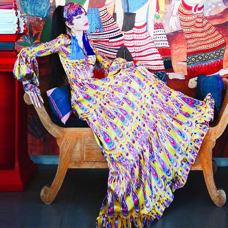 Chinesischen Nationalen Stil Frauen Pfau Schwanz Lange Hülse V ausschnitt Kleid Traditionellen Weibliche A Line Prinzessin Kleid Elegante Dance Kostüm-in Kleider aus Damenbekleidung bei  Gruppe 1
