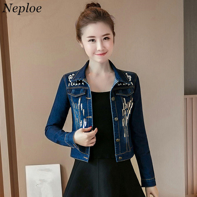 Neploe Jeans Jacket Women 2018 Beading Sequined Design Short Tops