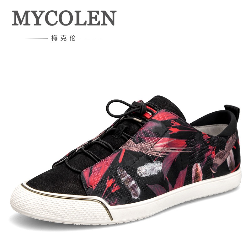 MYCOLEN Hot Sale Luxury Brand Hot Sale Breathable Soft Men Casual Leather Shoes Lace-Up Flat Black White Shoes Sapatenis Men