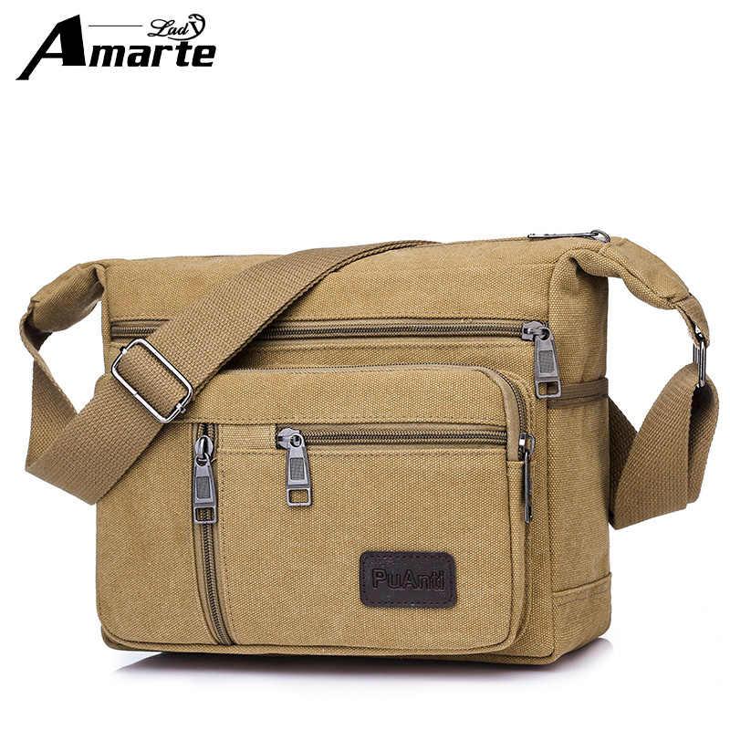 c06170e716ef Amarte 2018 Новая модная мужская сумка высокого качества Мужская Холщовая Сумка  повседневная дорожная мужская сумка через