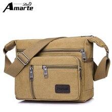 Amarte 2018 New Fashion Men's Bags High Quality Men Canvas Bag Casual Travel Men's Crossbody Bag Luxury Men Messenger Bags