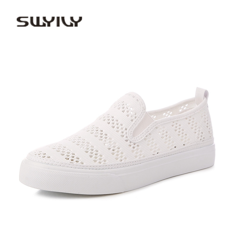 SWYIVY White Casual Shoes Woman Sneakers 2018 Summer Hollow Breathable Casual Sneakers Female Flat Slip On Lazy Casual Shoes swyivy women sneakers light weight 2018 41 woman casual shoes slip on lazy shoes comfortable candy color breathable net shoe