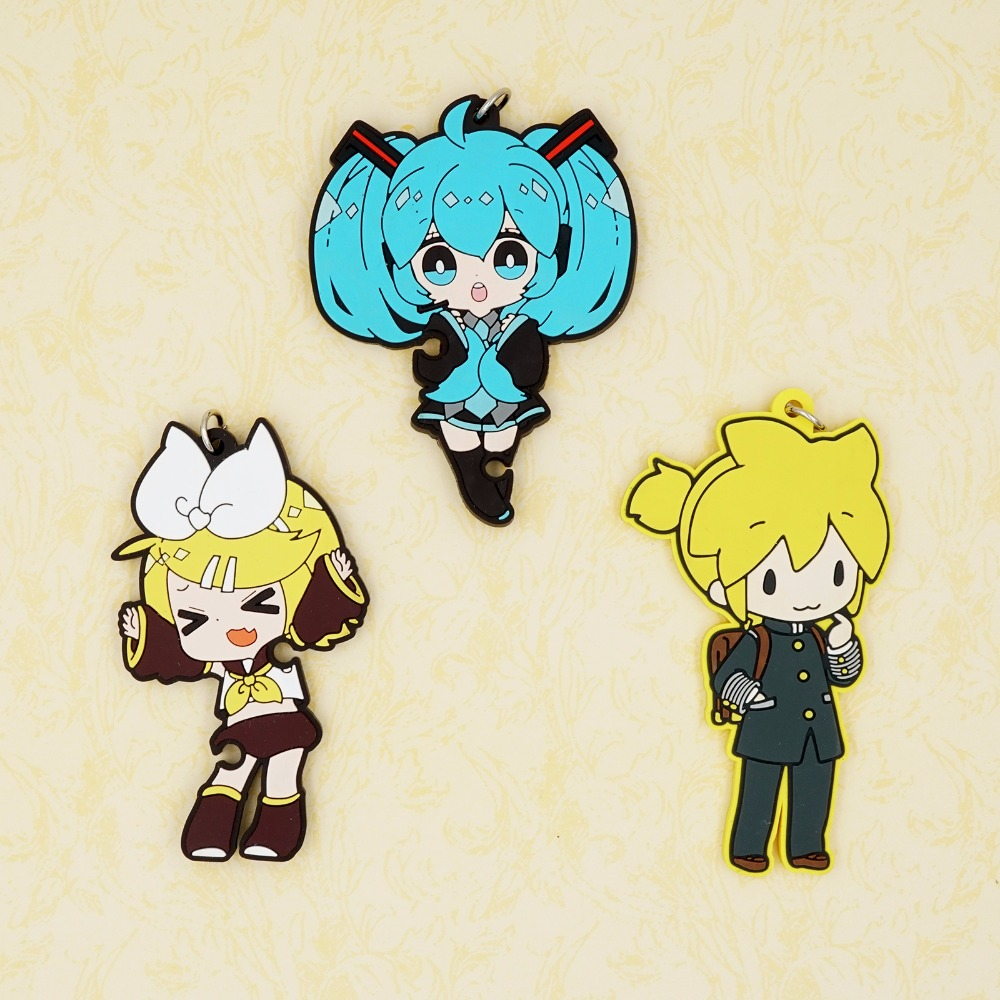 Kagamine Rin/Len Anime VOCALOID Hatsune Miku Kagamine Rin Kagamine Len Rubber Keychain vocaloid 3 hatsune miku kaito cosplay shoes anime boots