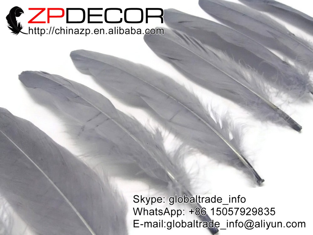 Goose Feathers, 1 4 lb - GREY Goose Satinettes Loose Feathers (bulk) (1)